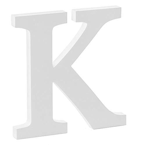 Libetui Deko Buchstabe K Dekobuchstabe K Haus Dekoration Wohnzimmer Kinderzimmer Deko Geburtstag Party Hochzeit Café Farbe Weiß Größe 20cm freistehend, bemalbar