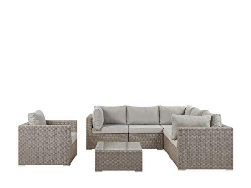 Beliani - Conjunto de jardín moderno de polirratán de alta calidad en color gris topo (6 plazas)