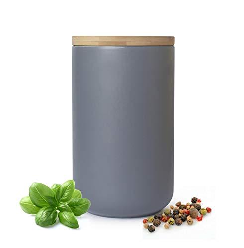 Sendez Vorratsdose Grau aus Porzellan mit Bambusdeckel Vorratsbehälter Dose Vorratsglas Aufbewahrungsdose