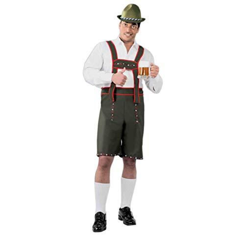 Tiroler Lederhose - Kostüm für Herren Karneval Fasching Oktoberfest Bayern Gr. M - L, Größe:L
