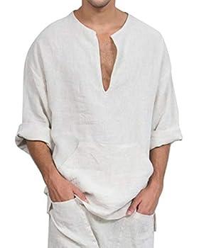 Jacansi Mens Beach Yoga Cotton Loose Tunic Summer Long Sleeve Shirts White 3XL