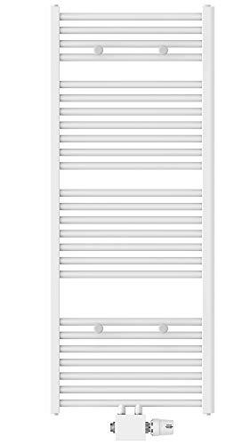 EISL Badheizkörper Mittelanschluss 50 x 120cm, weiß, Handtuchheizkörper für das Badezimmer, Handtuchhalter, Warmwasser Handtuchwärmer, BHKWZ11, 50 x 120 cm