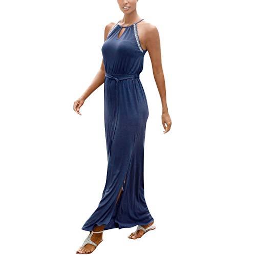 Lialbert Neckholder Boho Skaterkleid Camisole-Kleid Swing-Kleid Schwingendes GeschnüRte Geraffte Langes Mit-ZierknöPfen Etuikleider TaillengüRtel Elastischem Party Maternity Blau