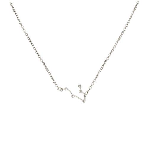 Hunpta - Collar para mujer con incrustaciones de circonita cúbica de 12 constelaciones, cadena de clavícula, gargantilla, collar de joyería, regalo de cumpleaños o boda