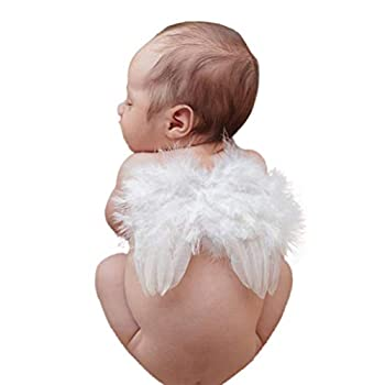 Infant Angel Wing Baby Angel Feather Wings Baby Photo Props Soft Newborn Photography Outfits Baby Costume Accessory 0-6 Months White BLUETOP