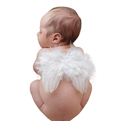 BLUETOP Infant Angel Wing Baby Angel Feather Wings Baby Photo Props Soft Newborn Photography Outfits Baby Costume Accessory 0-6 Months White