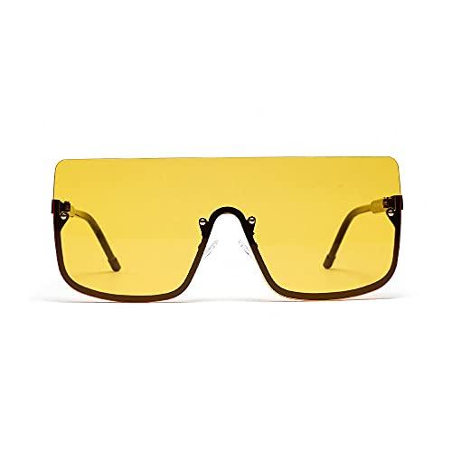 Gafas de Sol Retro Half-Frame Eyes Hombres Big Square Gafas de Sol Hip Hop Unisex -A