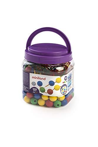 Miniland Educational 154214 - Bote con bolas ensartables 20 mm, 100 piezas