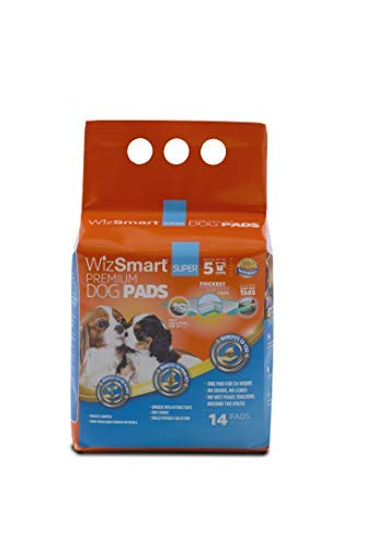 WizSmart All Day Dry Premium Dog and Puppy Training Pads, Made with Recycled Unused Baby Diapers and Eco Friendly Materials, 5 Cup Super 14 Count
