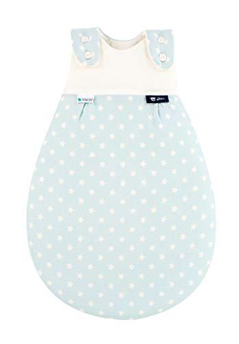 Alvi Baby Mäxchen Außensack Tencel/Baby-Schlafsack mitwachsend & atmungsaktiv/Sommerschlafsack & leichter Schlafsack klimaregulierend, Größe:68/74, Design:Stars aqua