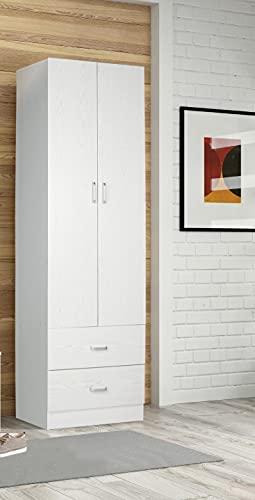 armadio guardaroba legno Dmora Armadio Guardaroba A Due Ante E Due Cassetti Con Barra Appendiabiti