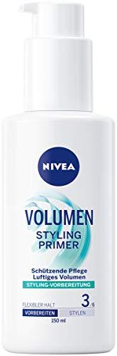 NIVEA VOLUMEN Styling Primer, feuchtigkeitsspendender Balm zur Vorbereitung von voluminösen Haarstylings, Haarcreme mit Hitzeschutz, 1er-Pack (1 x 150 ml)