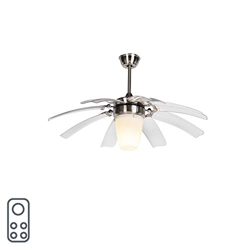 QAZQA Design/Industrie/Industrial/Modern Deckenventilator mit beleuchtung und fernbedienung silber mit Fernbedienung - Wings 42 Stahl/Silber/nickel matt/Innenbeleuchtung/Wohnzimmerlampe /