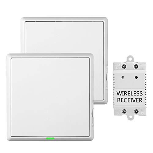 Funkschalter mit Empfänger-LED-Anzeige, 60 Meter im Freien, 10 Meter im Innenbereich, einfach zu bedienen, LED-Fernbedienungslichter, Deckenleuchten (2 Schalter + 1 Empfänger)