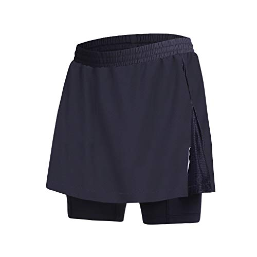 beroy Women Quick Dry and Breathable Cycling Skirt Shorts,Bike Skorts Pantskirt with 3D Padded(ablack,S)