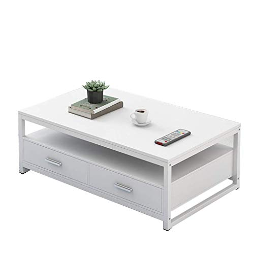 HXCD MDF Coffee Table, Steel Tea Table, Storage Coffee Table, Rectangular, Warm White And Oak, Large Size, Living Room Sofa Side Table Nesting Tables (Color : B, Size : 120x60cm)