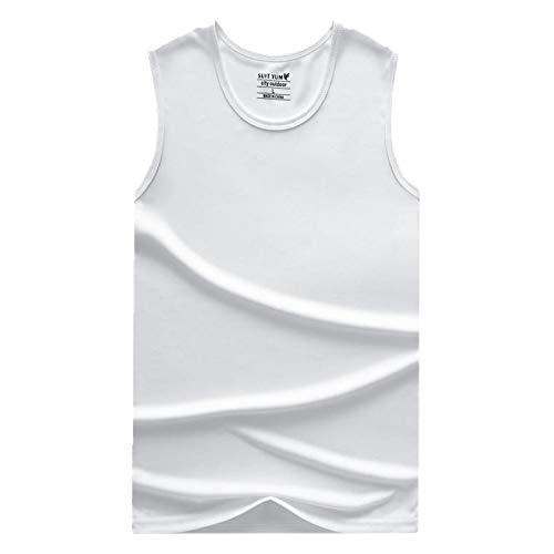 Verano al aire libre secado rápido camiseta sin mangas chaleco para hombre de secado rápido ropa de color sólido transpirable Blanco blanco M