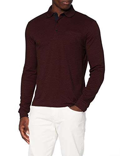 Pierre Cardin Herren Longsleeve Interlock Stripes Polo-Pullover, red, M