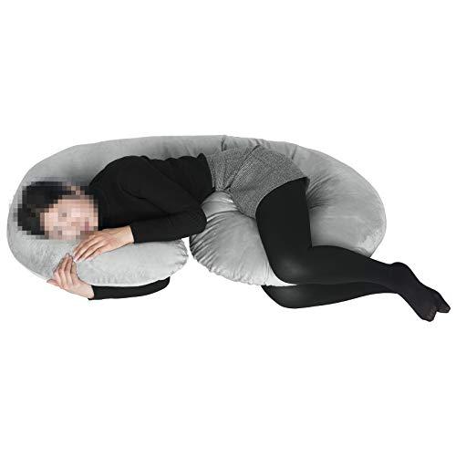 WOLTU SKN040gr, Schwangerschaftskissen Seitenschläferkissen Lagerungskissen Stillkissen Plüsch Bezug kuschelig, C Form 76x140 cm, Grau