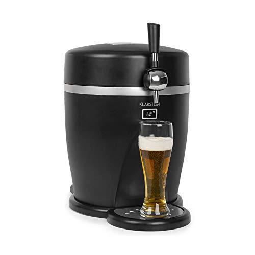 Klarstein Tap2Go - Distributeur de bière mobile 2 en 1 avec refroidisseur de boissons, fûts de 5 l, frigo de 13 l, usage domestique et automobile, jusqu'à 3°C, refroidissement thermoélectrique, noir