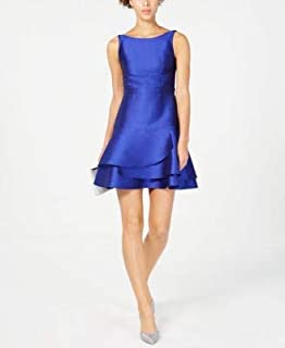 ADRIANNA PAPELL Womens Blue Open Back Sleeveless Jewel Neck Mini Fit + Flare Cocktail Dress US Size: 2