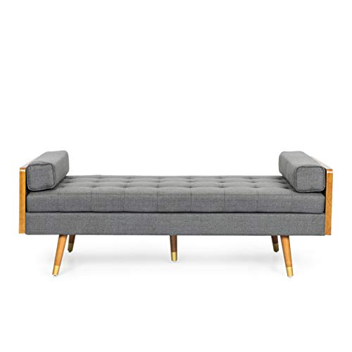 Christopher Knight Home Keairns Chaise Lounge, Gray + Dark Walnut + Gold