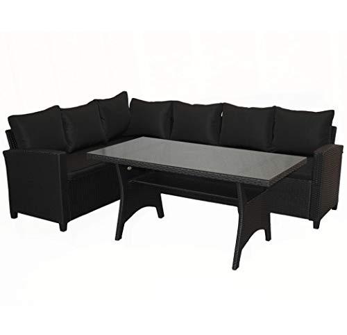 KMH®, große Schwarze Gartensitzgruppe Lounge Esstisch Sofa Hannover inklusive Auflagen und Kissen (#106116)