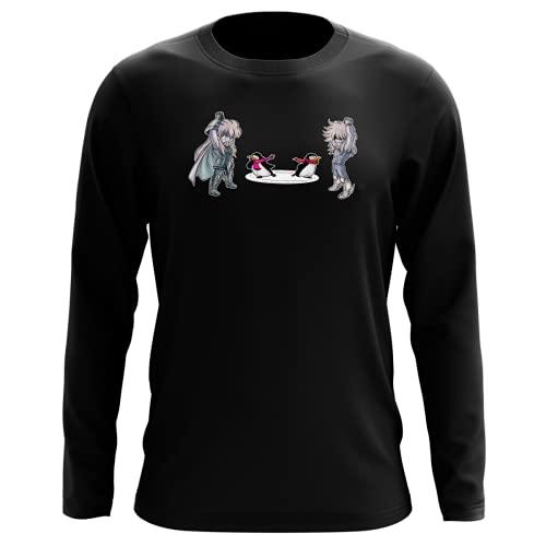 Okiwoki T-Shirt Manches Longues Noir Parodie Saint Seiya - Camus du Verseau et Hyoga du Cygne - Traduction (T-Shirt de qualité Premium de Taille L - imprimé en France)