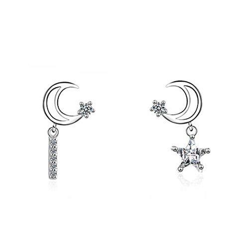 Zaaqio Pendientes de botón de Estrella de Luna de circonita Blanca de Plata 925 a la Moda para Mujer, Pendiente de Fiesta de Verano con asimetría Femenina, joyería de Regalo
