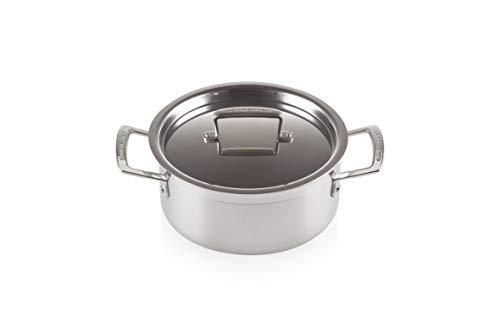 Le Creuset 3-Ply Olla baja con tapa, Ø 20 cm, acero inoxidable, volumen 3,0 L, para todo tipo de fuentes de calor (incl. inducción), metálico