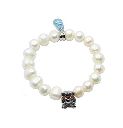 D. Diseño Pulsera Perlas Naturales con Charm Acero Buho y Zapatito