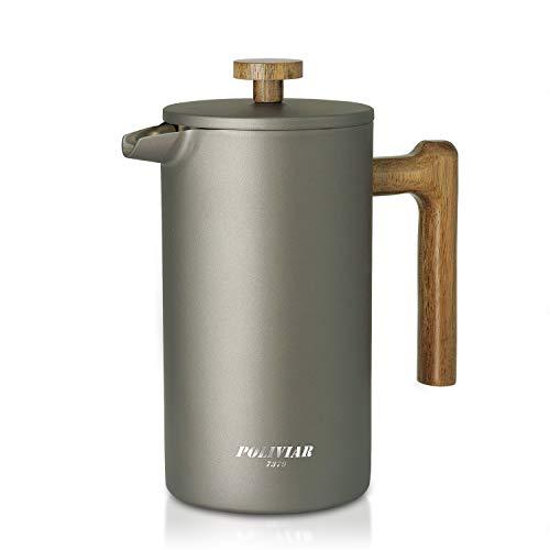 Poliviar French Press Kaffeebereiter 1 Liter/8 Tassen, Doppelwandige Isolierte Kaffeekanne und Teebereiter, Handfilter Kaffeepresse mit Plunger & Griff aus Holz, Cliff (Grau) JX2020-FPY-DE