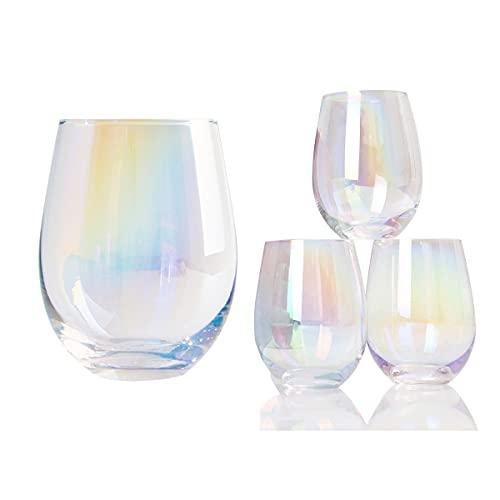 Copas de vino - Gran vino tinto o vino de whisky conjunto de vinos de 4 - regalos de vino para mujeres, ella, mamá, aniversario, cumpleaños, navidad - 18 onzas de cristal de color sin tallo, 4pcs