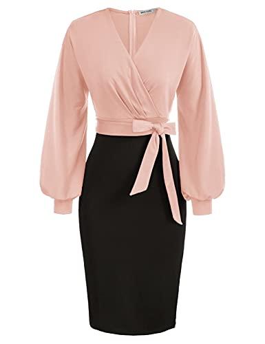 GRACE KARIN Damen Hips-Wrapped Kleid Sexy V-Ausschnitt Langarm Bleistiftkleid mit Gürtel M Rosa-Schwarz CL0761S21-02