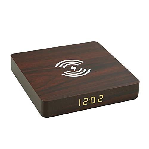 #N/A/a Estación de Carga Inalámbrica Qi con Reloj Despertador para Viajes en El Dormitorio - Marron Oscuro
