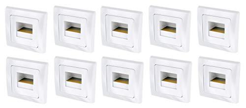 Preisvergleich Produktbild 10er PACK - LED COB Wandeinbauleuchte 230V - passend in 60er Schalterdosen - Stufenlicht Treppenlicht - warmweiß (3000 K)