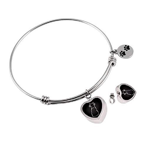 LiHiFG Collar joyería de cremación Pet Memorial Jewelry Paw Print en Pulsera de urna de corazón Pulsera Extensible de Acero Inoxidable + Kit de Relleno-D