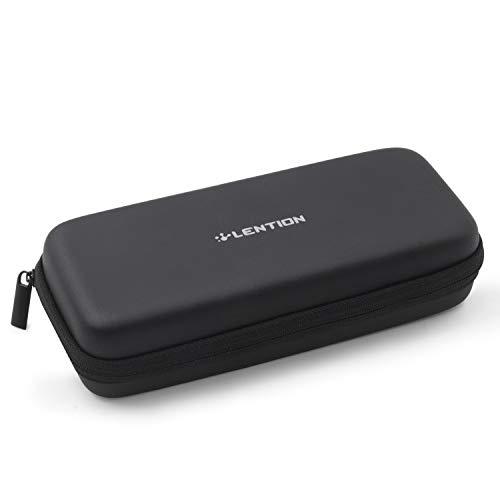 LENTION 収納ポーチ PC周辺小物 ガジェットポーチ 間仕切付き ペン収納可 HDD/SSD保護ケース モバイルバッテリー USBメモリ ケーブル イヤホン 充電器 ブラック (8.4インチ)
