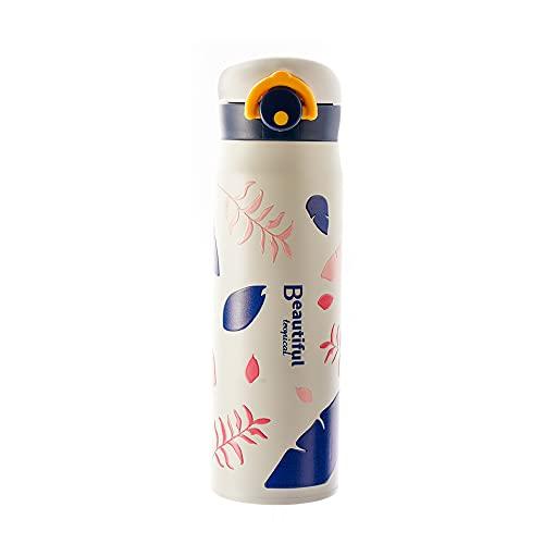 Botella térmica portátil de 420 ml con hebilla elástica de acero inoxidable para bebidas al aire libre, botella de agua para té, botella de agua, sin BPA, a prueba de fugas, tapa para gimnasio