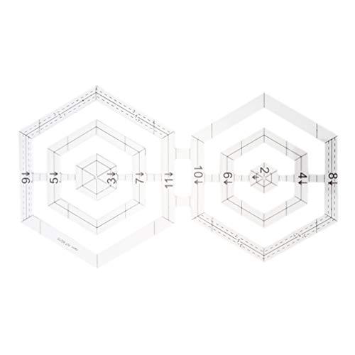 Heallily regla de acolchado acrílico plantilla de doble hexágono transparente herramienta de costura de regla doble para tela de retazos diy
