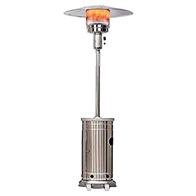 GRI Patio Heater ?1 Set ?Silver? 48000-BTU Stainless Steel Outdoor Heater with Table?Large Area Heating?Open Heating?Healthy Heating ?Used for 4 s Stores, Factory Workshop, Hotel Lobby, supermarkets
