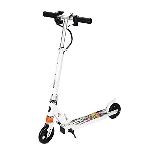 Trottinette Scooter électrique, avec écran d'instrument et Roues arrière colorées Lumineuses, Scooter pour Enfants avec Une autonomie de 6 à 8 km(Color:Blanche)