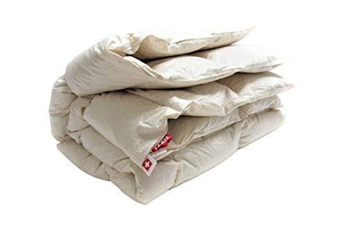 Couverture duvet de canard 220x240 pour toute l'année - Fabriqué en Allemagne - Certifié NoMite & Downpass - Couette en 90% duvet de canard / 10% plumes de canard recouvertes de coton biologique