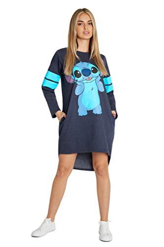 Disney Vestito Donna, Abito Felpa Casual in Cotone E Maniche Lunghe di Stitch, Maglione Lungo Taglie S, M, L, XL (Blu, L)