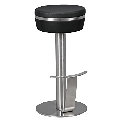 FineBuy Barhocker FB4827 Edelstahl Ø36 cm Kunstleder Tresenhocker Modern | Design Barstuhl Metall Hoch | Leder Hocker Bar | Thekenhocker für Küche | Hochstuhl für Tresen