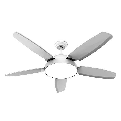 UNIVERSALBLUE - Ventilador de Techo con Luz - Ventilador Silencioso con Mando a Distancia - 5 aspas - 3 velocidades - Color Blanco