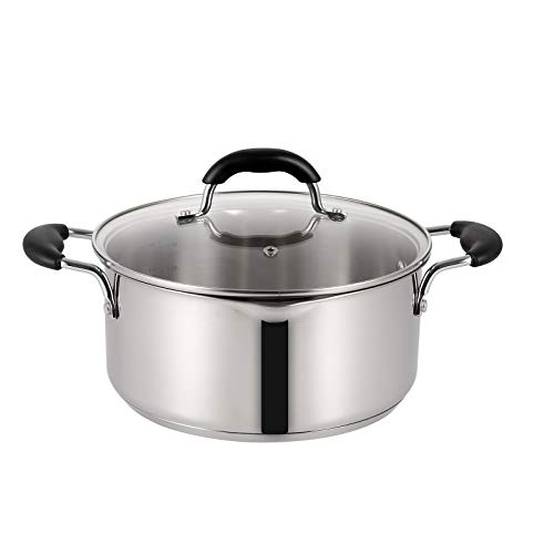 EPPMO 5 Qt Stainless Steel Stockpot with Lid Polished Stock Pot with Side Spouts amp Bakelite Handle Sauce Pot Warmer for Pasta Noodles and Sauce Dishwasher amp Induction Safe