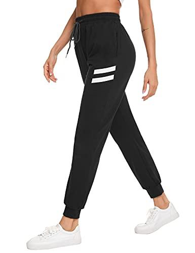 Irevial Damen Jogginghose Sporthose Long Streifen Sommer Hose High Waist Baumwolle Elastischer Bund Traininghose mit Taschen Feizeithose Loose Fit für Gym Trainings XL schwarz