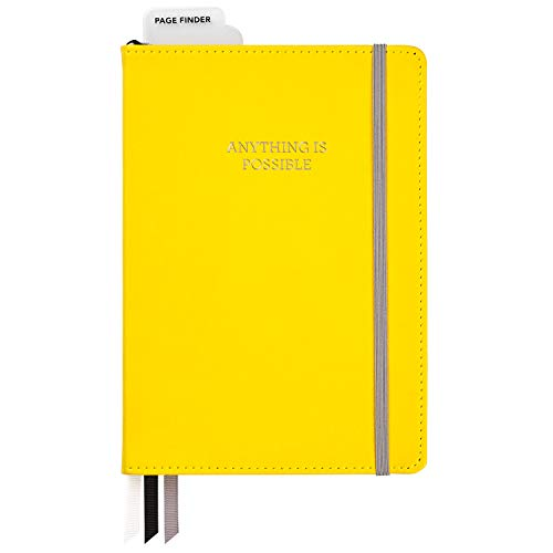 C.R. Gibson Yellow Leatherette ''Anything is Possible'' Dot Grid Notebook Journal, 6'' W x 8.5'' L, 240 Pages
