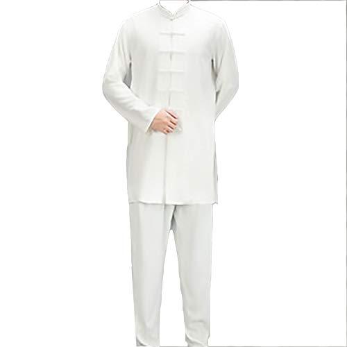 ZFF Hanfu Tang Traje Traje Tang - Tai Chi Traje Chino Traje Formal Traje para Hombre Tai Chi Traje Ropa Tradicional Fácil de Usar y Duradero (Color : White, Size : Medium)